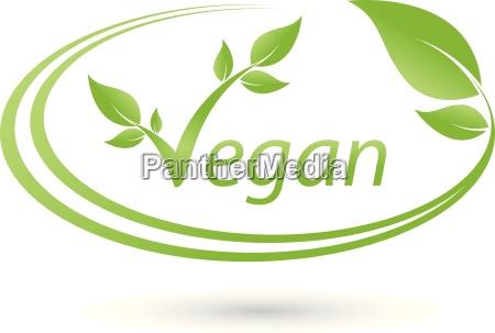 logotipo vegetariano con hojas vegano planta