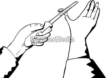 contorno de pulgar cortado y cuchillo