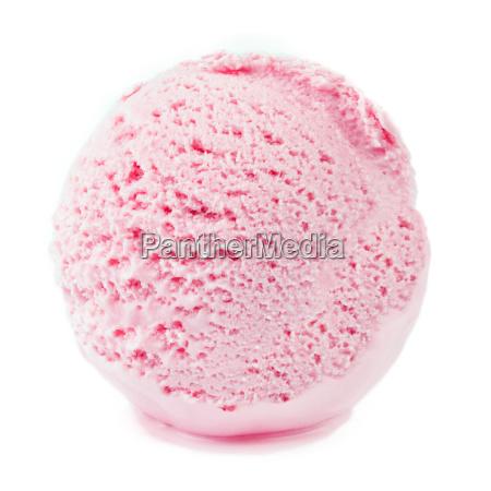 strawberry ice cream ball on white