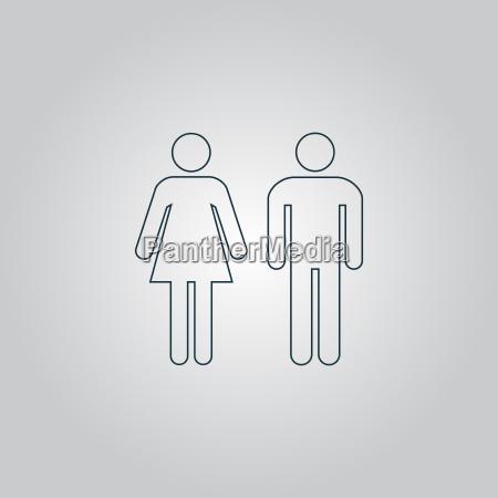 iconos de hombre y mujer signo