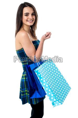 sideways of shopping teen girl