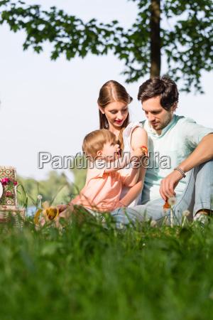 familia que tiene picnic en el