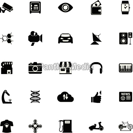 hitechnology icons on white background