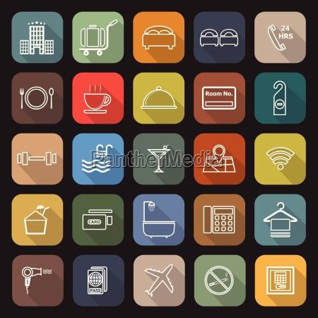 iconos planos de linea de hotel