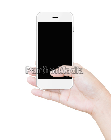 hand holding white smartphone clipping path