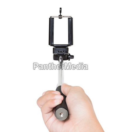 hand, holding, selfie, stick, isolated, white - 14662123
