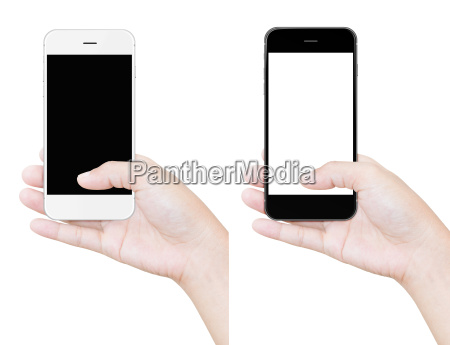 hand holding phone clipping path isolated