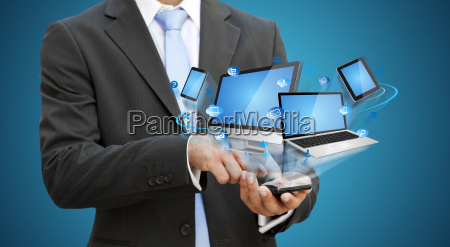 businessman using modern mobile phone