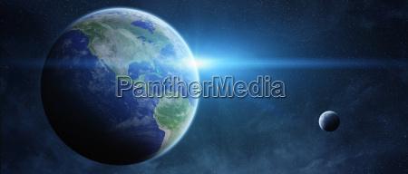 amanecer sobre el planeta tierra en