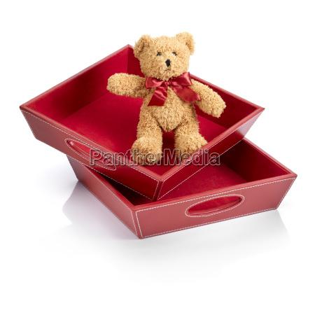 oso de juguete en una caja