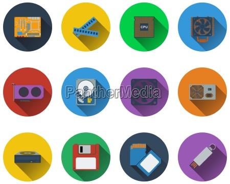 conjunto de iconos de hardware de