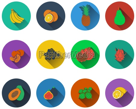set of fruits icons in flat