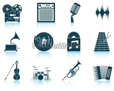 conjunto de iconos musicales