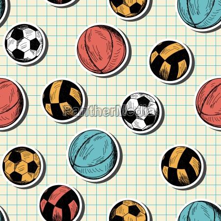 patron sin costuras con diferentes bolas