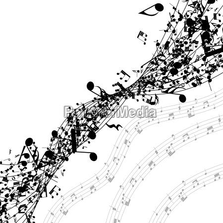 notas musicales en una fila