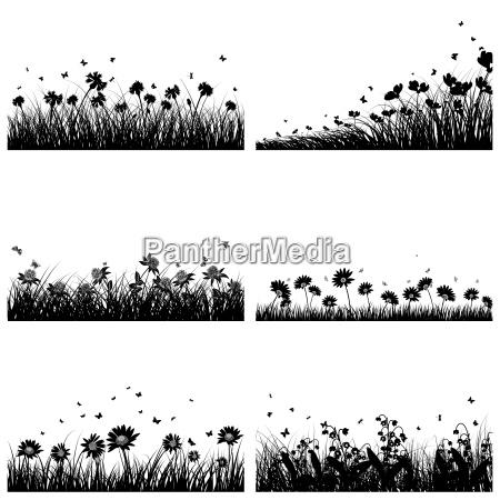flor planta valle silueta coleccion conjunto