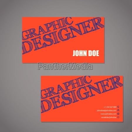 scribbled text business card in orange