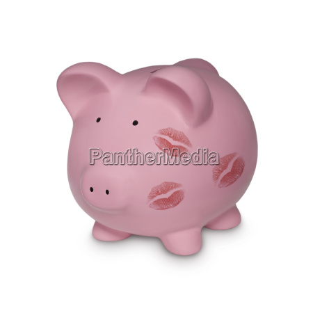 piggy bank with kiss marks