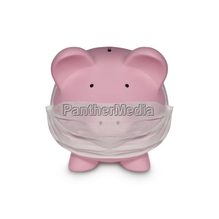 pink piggy bank with mouth mask