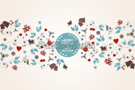 fondo navidenyo vintage con cresta floral