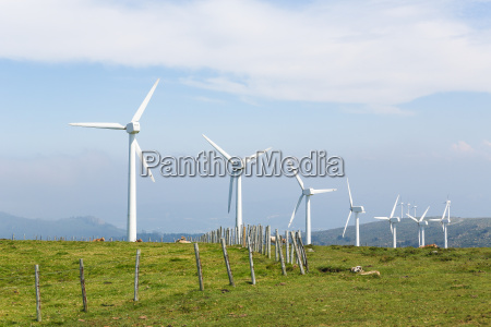 wind turbines on a wind farm