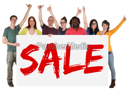 sale offer shopping multicultural group of