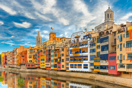 colorful houses in girona catalonia spain
