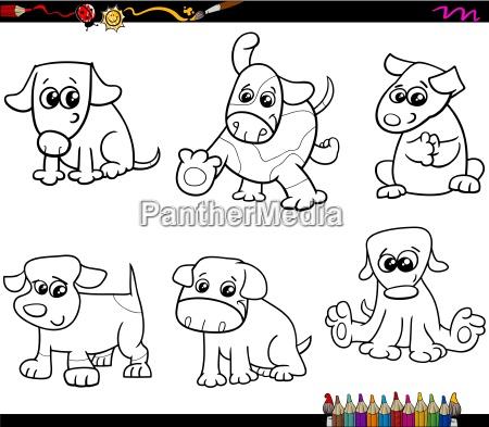 perros fijan la pagina para colorear