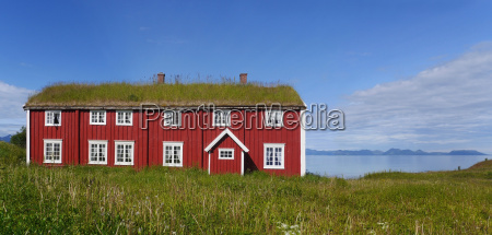 wooden house with green roofs in