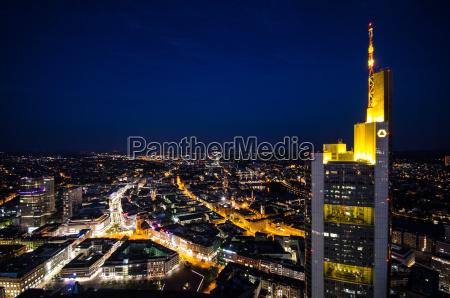 nat nattetid frankfurt storby skyline