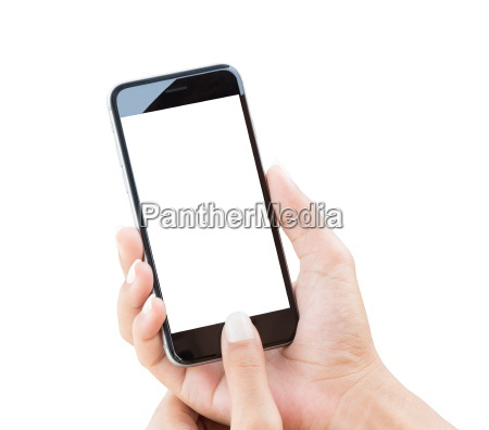 hand holding phone isolated with clipping
