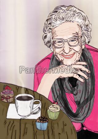amigable abuela se sienta en la