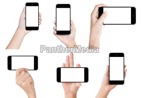 hand halten weissen modernen smartphone show