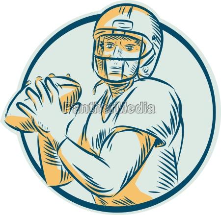 american football qb throwing circle ching
