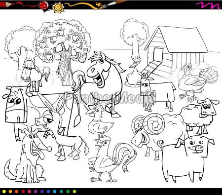 cartoon farm animals coloring book