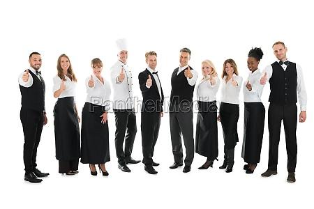 retrato del personal confiado del restaurante