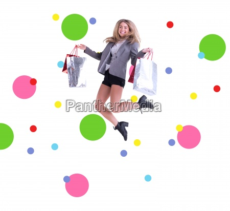 composite image of stylish blonde jumping