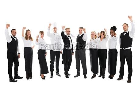 retrato del personal feliz del restaurante