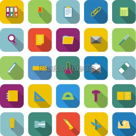 iconos de color de papeleria con