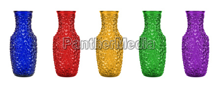 set of colorful glass vases