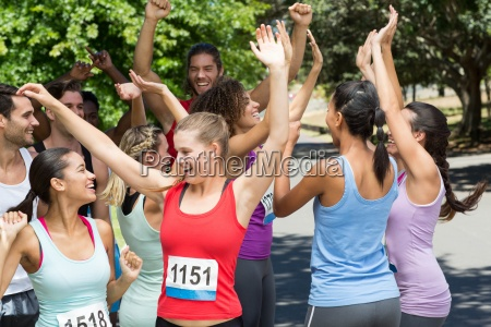 fit people at race in park