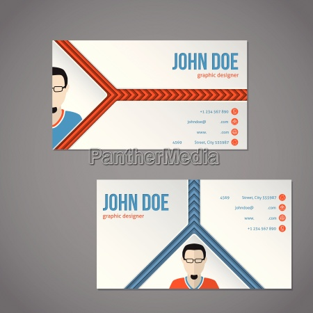 blue orange color business card with