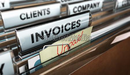 unpaid invoices financial concept