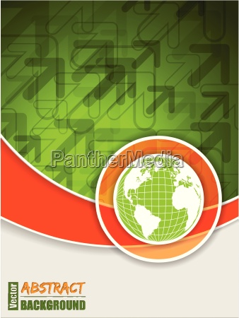 folleto verde naranja abstracto con globo