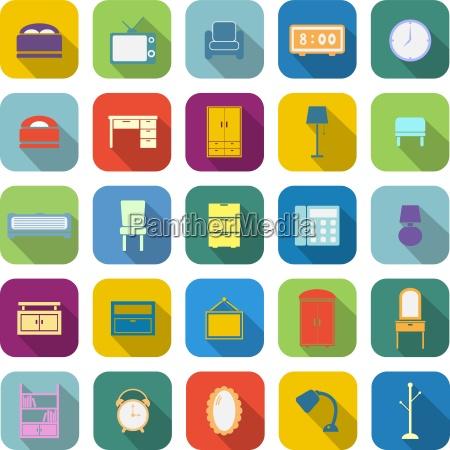 iconos de color de dormitorio con