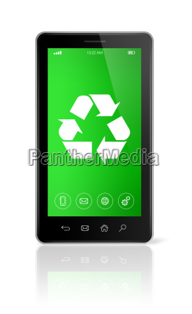 smartphone with a recycling symbol on