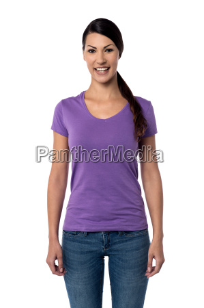 casual pose of happy young woman