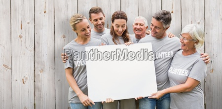 composite image of happy volunteer family