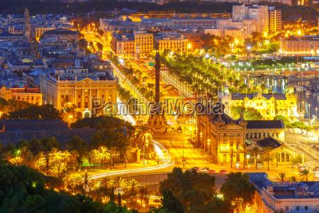 mirador de colom at night barcelona