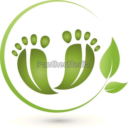dos pies y las hojas logotipo